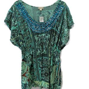 Live and Let Live Sublimation Top Green Sequins 3X